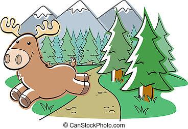 Moose Running - A cartoon moose running through the forest.