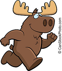 Moose Running - A happy cartoon moose running and smiling.
