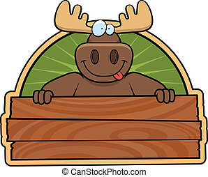 Moose Sign - A happy cartoon moose with a wooden sign.