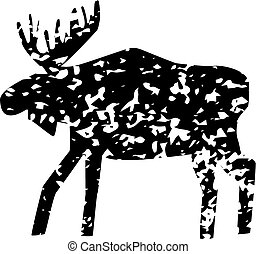 Moose silhouette with texure isolated on the white background.