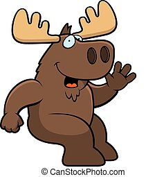 Moose Sitting - A happy cartoon moose sitting and smiling.