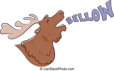 Moose Sound Bellow - Illustration of a Moose Bellowing
