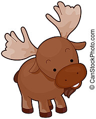 Moose - A Cute Moose With Head Tilted Sideways Isolated...