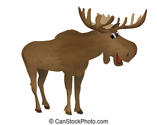 Moose - Childish illustration of a cute smiling moose