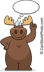 Moose Thinking - A happy cartoon moose thinking and smiling.