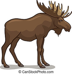 Moose - Vector illustration of a moose, isolated on a white...