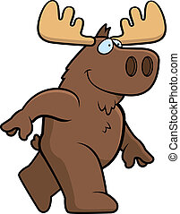 Moose Walking - A happy cartoon moose walking and smiling.