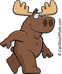 Moose Walking - A happy cartoon moose walking and smiling.