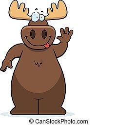 Moose Waving - A happy cartoon moose waving and smiling.