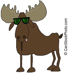 Moose wearing sunglasses - This illustration depicts a bull...