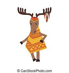 Moose Wearing Tribal Clothing
