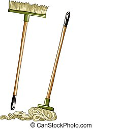 Mop and broom on a white background, vector