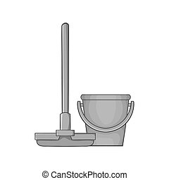 Mop and bucket icon, black monochrome style