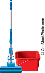 Mop and bucket - Blue automatic mop and red rectangular...