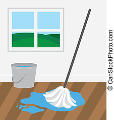 Mop and bucket cleaning wooden floor