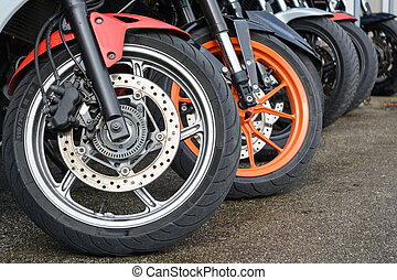 Moped Close-up shows front wheels
