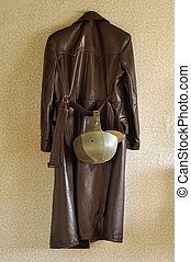 Moped coat and helmet - Vintage leather moped coat and...