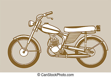 moped silhouette on brown background, vector illustration