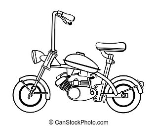 moped silhouette on white background, vector illustration