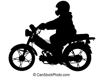 Moped - Vector drawing silhouettes of motorcyclists...