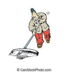 mopping the floor cartoon illustration vector