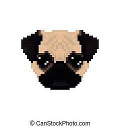 Mops dog head in pixel art style.
