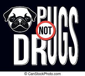 mopsy, nie, lekarstwa, wektor, ilustracja