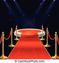 moquette, cordes, podium, vecteur, stanchions, rouges