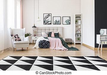 gris salle s ance moderne tabouret d tail rembourr int rieur noir sombre blanc oreiller. Black Bedroom Furniture Sets. Home Design Ideas