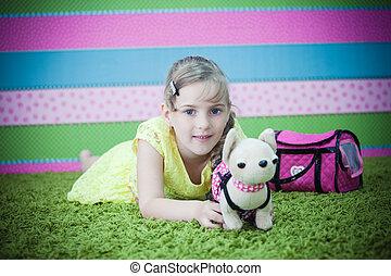 moquette, girl, jouer, jeune, jouets