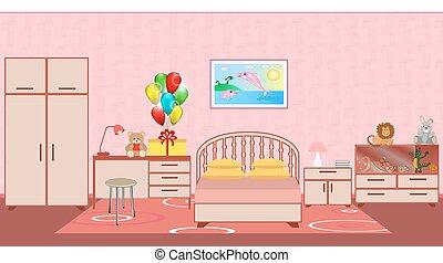 moquette, meubles, jouets, présent, anniversaire, chambre à coucher, intérieur, enfants