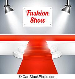 moquette, mode, passerelle, rouges, exposition