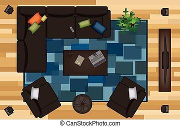 moquette, plat, meubles, illustration., sofas, fauteuil, set., créateur, scène, ton, tv, vecteur, usines, intérieur, table, vue., design., sommet, pouf, côté