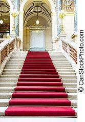 moquette rouge, sur, escaliers., musée national, dans, prague