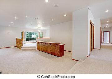 moquette, sbarra, stanza, legno, grande, beige, railing., vuoto