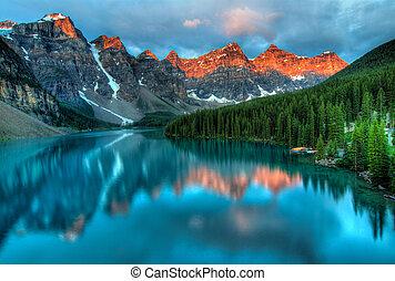 morän insjö, soluppgång, färgrik, landskap