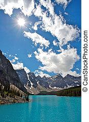 moräne see, in, banff nationalpark