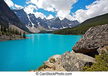 moréna, nemzeti park, tó, banff