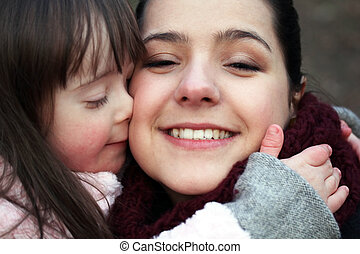mor, ögonblicken, -, barn, familj