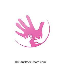 mor, børn, sammen, hænder