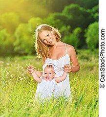 mor, baby, lycklig, dotter, familj, natur