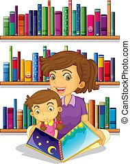 mor, bok, läsning, dotter, henne