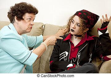mor, dotter, konflikt