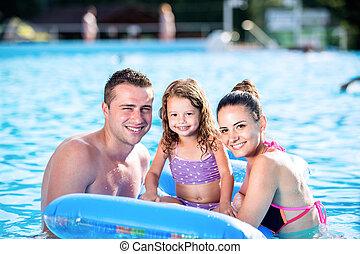mor, far datter, ind, svømning, pool., solfyldt, summer.