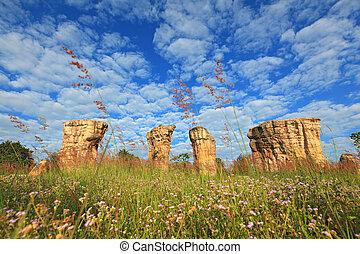 Mor Hin Khao, Thailand stonehenge, with beautiful field