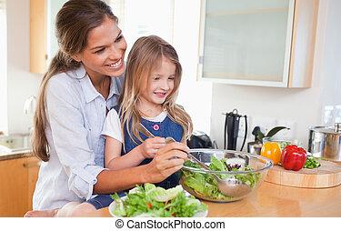 mor, och, henne, dotter, förberedande, a, sallad