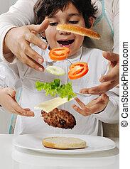 mor och son, tillverkning, burger, hos, kök