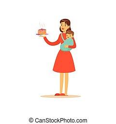 mor, super, karakter, holde, kage, barn