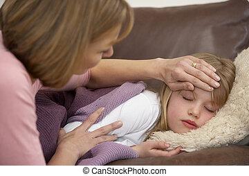 mor, tagande temperatur, av, sjuk, dotter