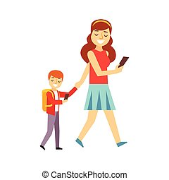 mor, vandrande, son, till, skola, båda, tittande vid, smartphone, avskärma, person, existens, direkt, alla, den, tid, besatt, med, grej